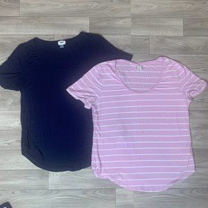 2 Women's OLD NAVY Luxe Tee Shirts sz Large